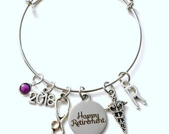 Retirement Gift for Veterinarian, Doctor, Nurse Medical Tech Charm Bracelet Jewelry Silver Bangle Coworker letter initial birthstone Present