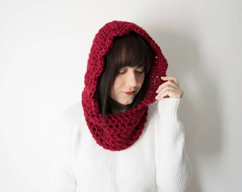 Knit Hood Scarf - Red Crochet Chunky Infinity Cowl In Color *Ruby* - The 'Kirtland' Red Infinity Hooded Cowl