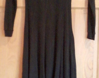Vintage Long Black Cotton Dress
