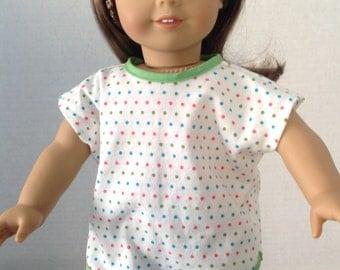 Polka dot pajamas, knit pajamas, short pajamas, pajama top and panties, summer pajamas, raglan sleeve pajamas,