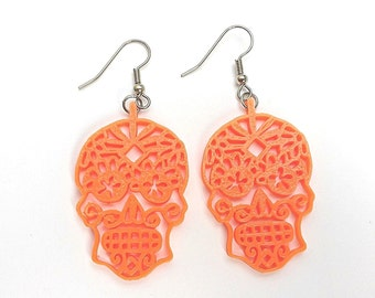 Day of the Dead Earrings / Dia de los muertos earrings / 3D Printed Skull Earrings