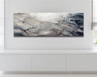 Abstract Ocean Painting, Artist-Signed, Giclee Fine Art Print, Contemporary Art, Acrylic, Wall Art Print, Wave, Nature Inspired,8x24 - 30x90