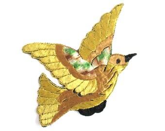 Antique Silk Bird Applique 1930s Vintage Patch Sewing supply.  #6ADG9AK4