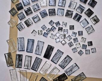 Tiles, 114 total, TRANSLUCENT, GLASS, twilight, blues, black, white, swirled, organic pattern, 3 SIZES