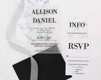 Marble Wedding Suite - Custom design black white and gold, Vellum option