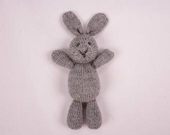 Plush Bunny, Grey Bunny, Baby Photo Prop, Baby Gift, Handmade Doll, Baby Soft Toy, Newborn Photo Prop, Wool Toy, Stuffed Animal, Knit Toy