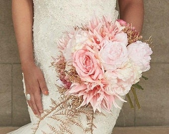 Gold Accent - Bridal bouquet, pink and gold faux flowers