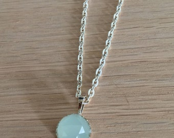 Green Chalcedony Necklace, Sterling Silver, 10mm Chalcedony pendant, silver necklace, healing crystals