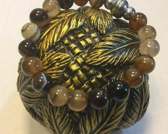 BEADED HEALING  Bracelet  :  Made With Agate and Hematite Gemstones
