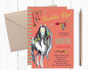 Horses Birthday Invitation, Horse Invites, Horse Invite, Horse Birthday Invitation, Horse Birthday Party Invites, Horse Invitations,