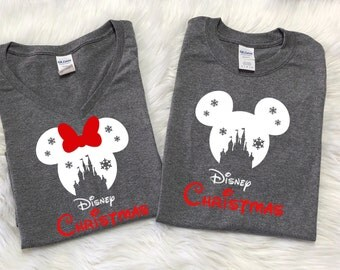 Disney SNOWFLAKE CASTLE with RED Disney christmas, Disney inspired shirt, Family Vacation shirts, Disney christmas shirts, Family vacation