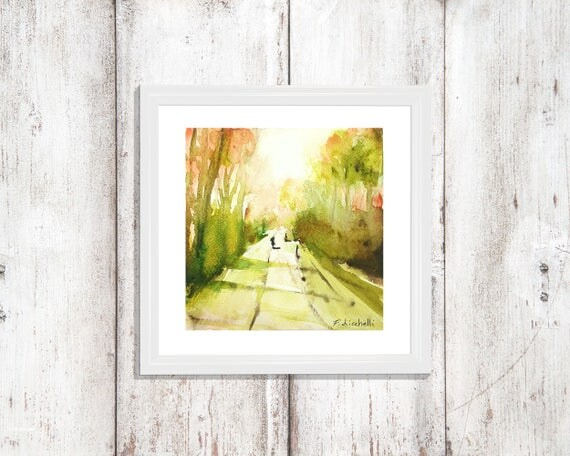 Tree lined avenue, little sqaure watercolor, copy of author, gift idea for him, anniversary, home inauguration, traditional decore, wall art