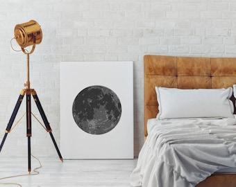 Full Moon Print, Moon Wall Art, Digital Art Prints, Moon Large Print, Full Moon Wall Art, Moon Illustration, Moon Poster