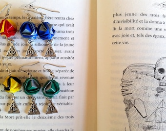Origami earrings, Harry Potter, Hogwarts' houses
