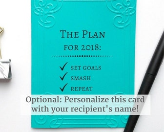 Motivating encouraging New Year's card, personalized / Embossed greeting card, handmade / Inspirational 2018 saying: set goal, smash, repeat