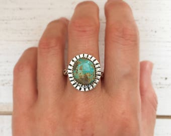 Royston ribbon turquoise silver ring, size 8 1/4 - pattern band, stamped sterling and fine silver, serrated bezel, bohemian gifts for her