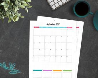16-Month Monthly Calendar (September 2017 - December 2018)