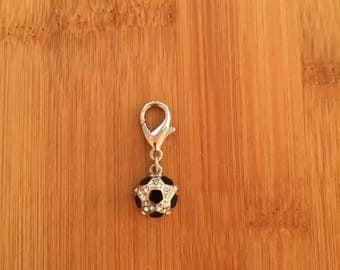 Soccer ball zipper charm, Soccer ball zipper pull, Soccer ball keychain