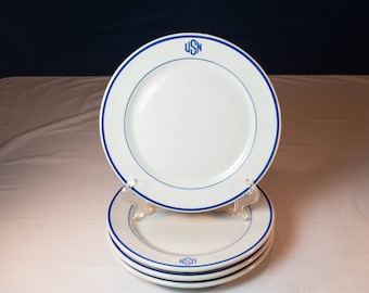"""US Navy - """"USN"""" Topmarked 9 Inch Heavy Vitrified Restaurant Ware Dinner Plates by TEPCO Circa 1940s for the Chief Warrant Officer Mess"""