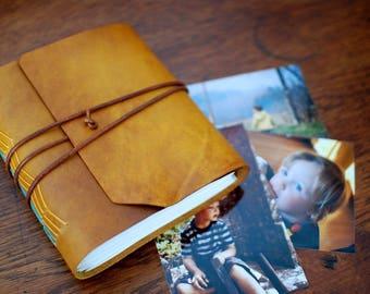 "Leather Photo Album Yellow sunny, Rustic Vintage Style, Handmade Bound, Handmade paint, 144 photos 4"" x 6"", Original"