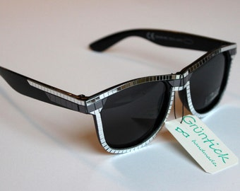 Bling Bling Glasses-sunglasses Wayfarer with mirror mosaic studded, sparkles and glitters, silver and black, silver/black, Festivaö