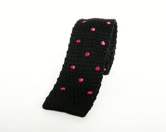 knitted black pink polka dot tie skinny wedding tie black pink groomsmen gift for men uk