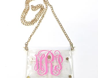 Monogrammed/Personalized Clear Stadium Clutch/Cross Body Purse/Bag.