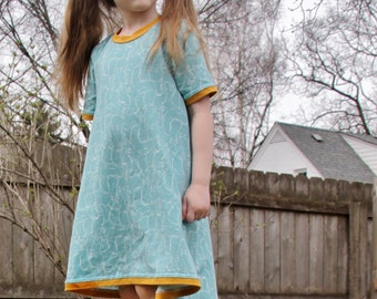 Turquoise Kitten Tunic Dress for baby and toddler //baby shirt // toddler shirt // baby dress  // cat dress