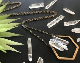 Raw Quartz Necklace // Long Necklace // Modern Quartz Necklace // Clear Quartz Necklace // Long Geometric Necklace // Hexagon Necklace
