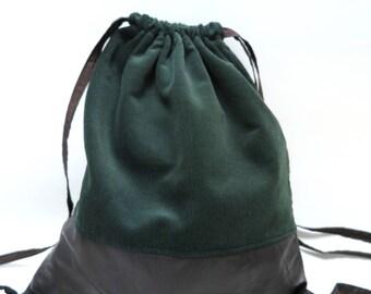 Backpack / bag, deep green velvet, brown leather