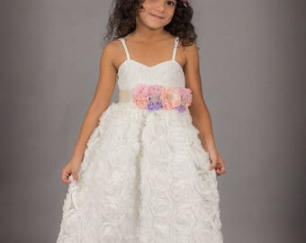 White Flower Girl Dress, First Communion Dress, Girls Lace Dress, Floral Dress, Christmas Dress, Couture Dress, White Lace