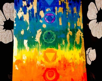 "Chakra Art Acrylic painting Yoga painting Meditation Art  Spiritual Art Healing painting 12""x24"" Yoga decor"
