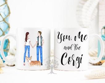 You, Me and The Corgi Mug, Corgi Mug, Tri - Colored Corgi mug, Gift For Girlfriend, Corgi Gifts, Corgi Lover Gift, Corgi Owner Gifts, Corgi