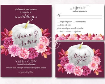 Pumpkin wedding invitation. Fall wedding invitation. Dahlia wedding invitation. Rustic wedding invitation. Printable wedding invitation.