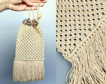 brandy / 1910s antique hand crocheted drawstring purse / edwardian era sailor sweetheart bag