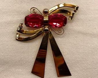 Vintage Sterling Vermeil Rinestone Bow Brooch