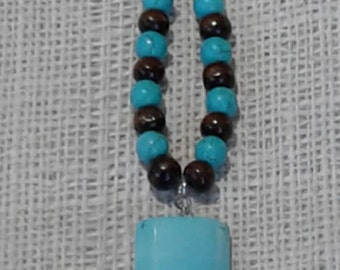 Bayong Wood Beads ~  Howlite Turquoise Beads ~ Leather Tassel