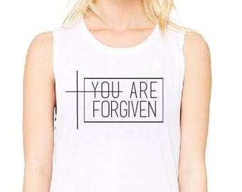 ENDS AT 12AM You Are Forgiven Shirt //Women's Christian Graphic Tee, Christian Shirts,Bible Verse Shirts, Christian t shirts, Grace Shirts