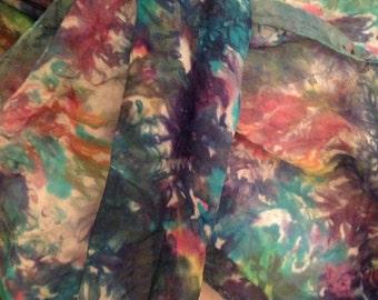 handpainted silk scarf, unique original wearable art, woman's scarf, shawl, sarong,