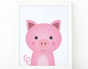 Pig Print, kids wall Art Print, Instant download, Nursery print, Nursery Decor, animal printable, Animal Nursery Printable, cute farm animal