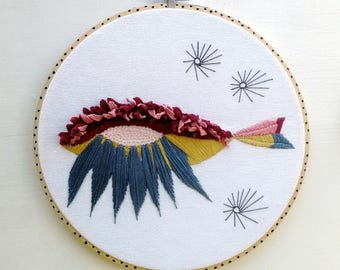 Embroidered Hoop. Fish Eye
