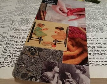 Knitter's Bookmark/ Collage Bookmark/ Bookmark for Knitters/ Recycled Bookmark