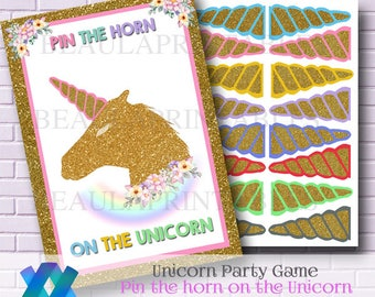 Unicorn Party Game, Pin the Horn on the Unicorn, Printable Unicorn Name Badge, Party Printables, Unicorn Party Invite, Instant Download