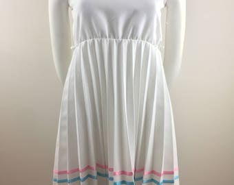 Vintage Delta Girl White A-Line Dress with Pleated Skirt and Pink & Teal Ribbon Striping /Made in USA/Girl's Size 14