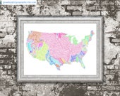 River basins of the US in rainbow colours (high resolution digital print) map print, wall art, poster map, home decor, wall decor, printable
