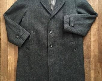 50's herringbone pattern wool long coat