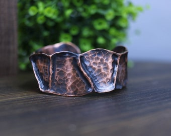 Men's Hammered Air Chased Copper Cuff Bracelet