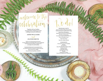 Gold wedding program template download, Rustic wedding program template, Ceremony program template, Editable pdf download, #AOR10103