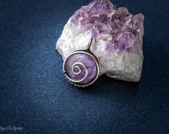Silver pendant Wire wrapped pendant Amethyst pendant Silver necklace Wire wrap pendant Gemstone necklace gift for her