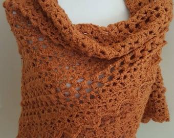 Pumpkin Spice Crochet Triangular Shawl / Wrap, Burnt Orange Tweed Shawl